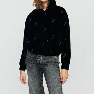 NWT Maje black blue floral velvet hooded sweatshirt